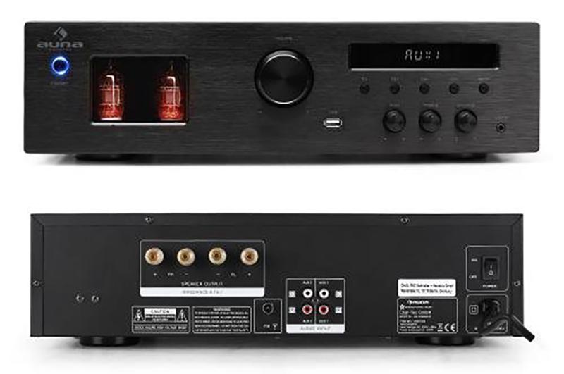 Auna Tube 65 - Ampli Hifi à lampes avec tuner radio FM RDS