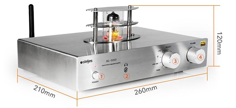 Steljes Ampli à Tubes Valve Amplificateur de Son 30Wx2 Bluetooth HiFi Stéréo dac Audio