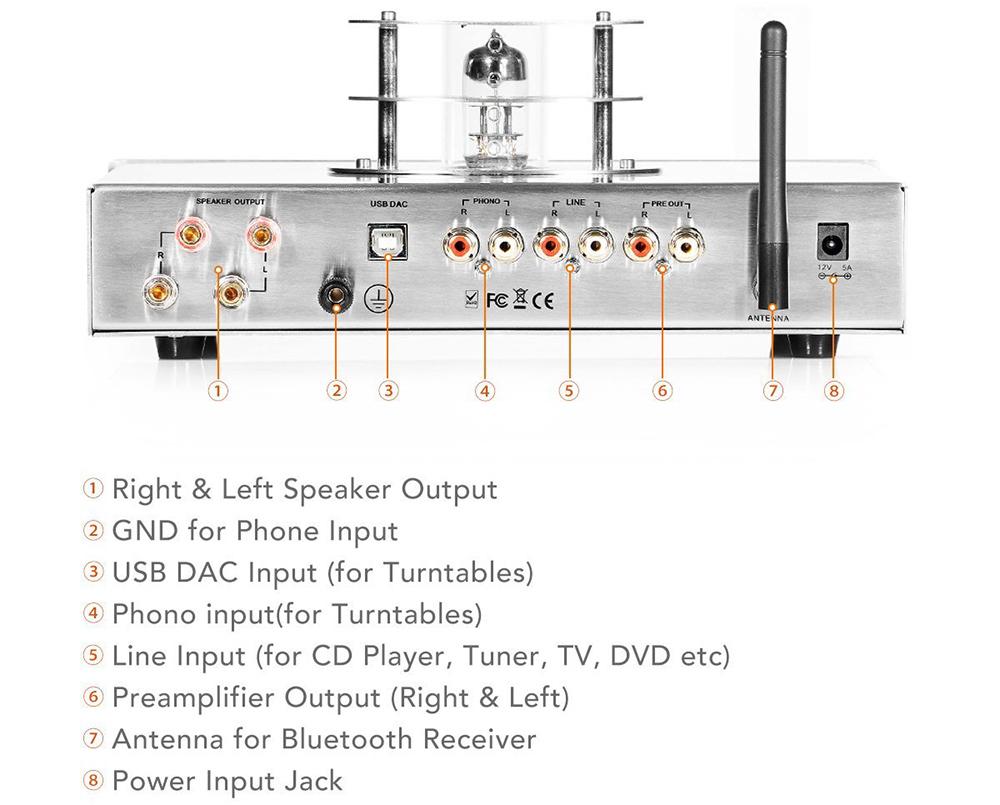 Steljes Ampli à Tubes Valve Amplificateur de Son Bluetooth HiFi Stéréo dac Audio